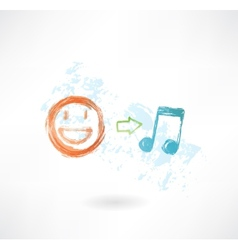 Music equals good mood grunge icon vector