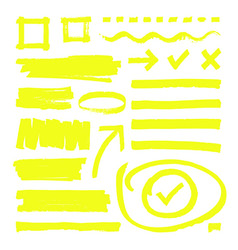 yellow highlighter lines arrows and frame boxes vector image