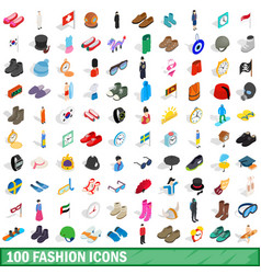 100 fashion icons set isometric 3d style vector