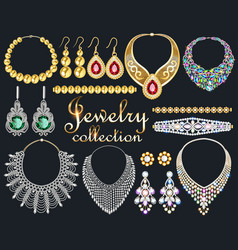 A fashionable collection jewelry necklaces vector