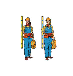 African and caucasian woman builder vector