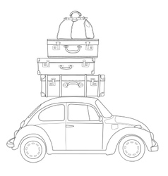 auto travel retro car with luggage on roof vector image