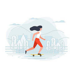 Banner template with girl on a skate vector