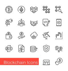 blockchain line icons vector image