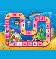 Boardgame template with kids swimming underwater vector