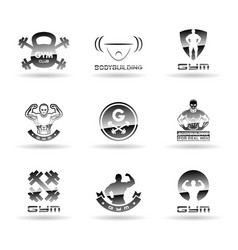 Bodybuilding icons set vector