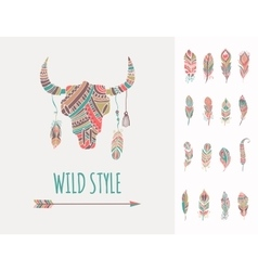 Bohemian style Bull Skull poster with feathers vector