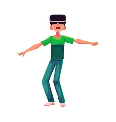 boy wearing virtual reality headset simulator vector image