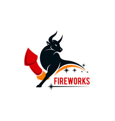bull firework company logo concept design vector image
