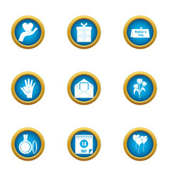 Care icons set flat style vector
