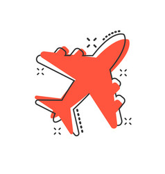 cartoon airplane icon in comic style airport vector image