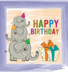 childish birthday card with funny elephants vector image