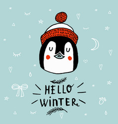 christmas card with a penguin with lettering hello vector image