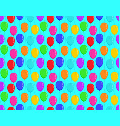 color balloons on blue background bright seamless vector image