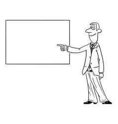 Comic cartoon man or businessman showing or vector