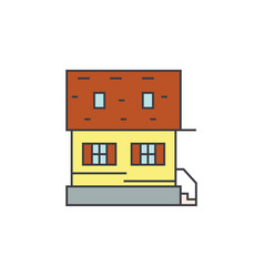cottage line icon concept cottage flat vector image