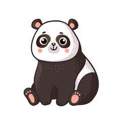 Cute panda sits on a white background vector