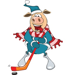 Cute Pig Ice Hockey Player vector image