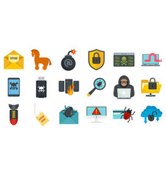 Cyber attack icons set flat style vector