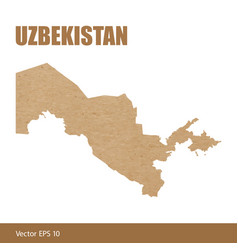 Detailed map of uzbekistan cut out of craft paper vector