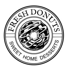 Donuts home desserts vintage label vector