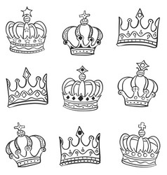 Doodle of crown various style vector