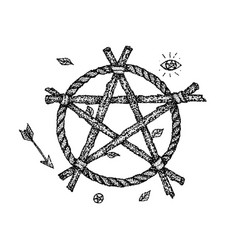 dotwork witch pentagram vector image