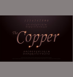 Elegant copper colored metal chrome alphabet font vector