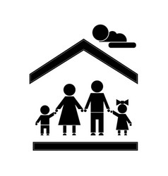 family stick figure vector image