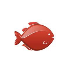 fish icon label vector image