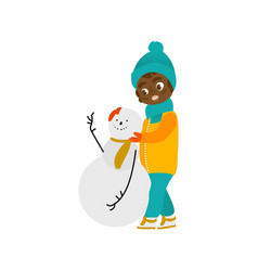 Flat boy makes snowman smiling isolated vector