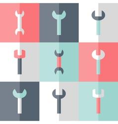 Flat nine wrench icon set vector
