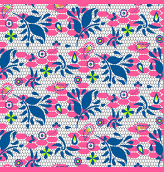 Floral lace blue and pink seamless pattern vector