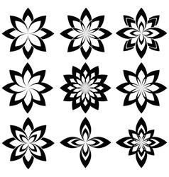 Flower set stylized geometric spring flower vector image