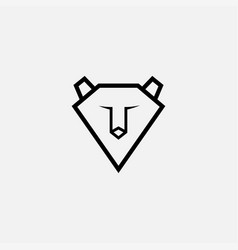Fox or dog or wolf face simple line logo design vector