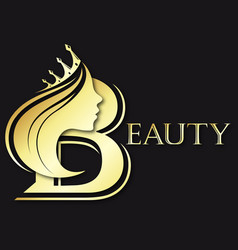 girl silhouette with a golden crown for a beauty vector image