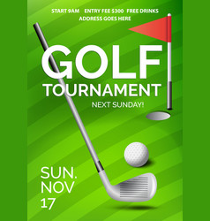 golf tournament poster with information green vector image