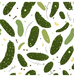 Green Canned Spicy Cucumber Seamless Pattern vector