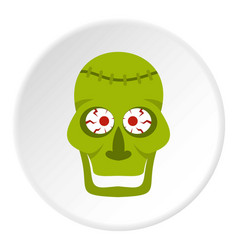 Green zombie skull icon circle vector