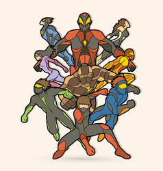 Group of superhero action vector