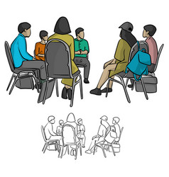 Group of teenagers sitting in a circle vector
