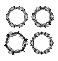 guilloche patterns abstract circle frame set vector image