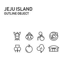 Jeju island item with transparent outline design vector