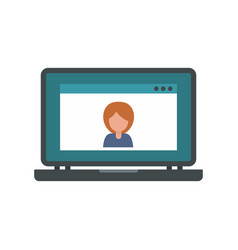 Laptop video chat icon flat style vector
