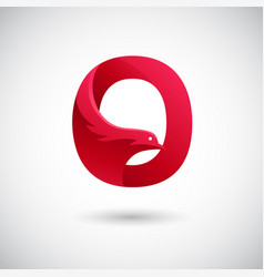 letter o with dove logo concept creative and vector image