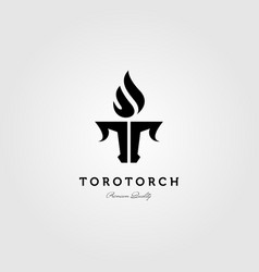 letter t torch and toro bull logo design vector image