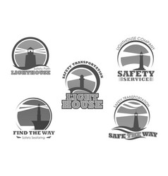Lighthouse or marine safety beacon icons vector