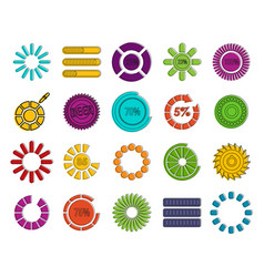 loading icon set color outline style vector image