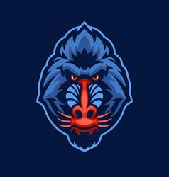 mandrill monkey head mascot logo vector image