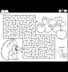 maze game with hedgehog and apples coloring book vector image